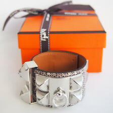 RARE New Authentic HERMES CDC Collier de Chien OMBRE Ring Lizard PHW Silver 7