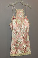 Free People Women Top Pink Floral Silk Lace Applique Sleeveless Blouse Size 4