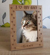 I LOVE MY CAT Personalised Engraved Wooden Photo Frame Memorial Keepsake Gift
