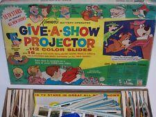 Give A Show Projector & Slides w/Box Flintstones 39 Slides different Cartoons