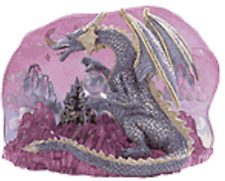 New Alabaster Purple Dragon & Castle With Crystal Ball Statue Collectible #19