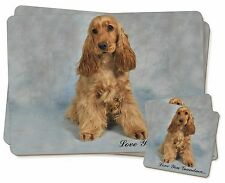 Gold Cocker Spaniel 'Grandma' Twin 2x Placemats+2x Coasters Set in , AD-SC6lygPC