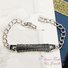 18K White Gold Plated Cubic Zirconia Stylish Black Linked Strip Bracelet