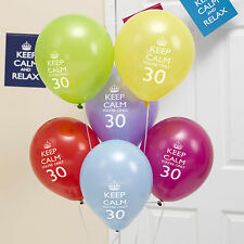 8 x 30th Birthday Balloons Keep Calm & Party On Decorations you're only 30!