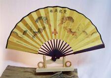 030 chinesisch Hand Asien Wand Deko Fächer Seidenkarton gelb Drachen