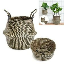 Woven Seagrass Basket Handwoven Grass Belly Basket Storage Basket with Handles
