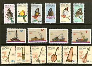 MACAU 1985-1986 ISSUES/ 3 FULL SETS/ (MINT-LIGHTLY HINGED) CV $100++