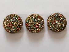 Czech Trio Of Painted Flowers On Mirror Back Vintage Metal Buttons 18mm