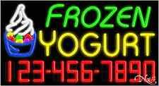 "New ""Frozen Yogurt"" W/Your Phone Number 37x20 Neon Sign W/Custom Options 15120"