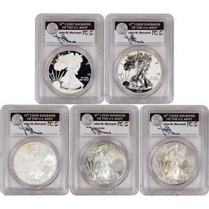 5-pc 2011 American Silver Eagle 25th Anniversary Set PCGS 70 Mercanti Signed