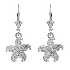 14k White Gold Textured Starfish Sea Star Drop / Dangle Leverback Earrings