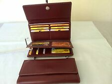 Womens Wallet Genuine Leather Wallet w/18 Credit Cards Holder - Burgundy AE-20