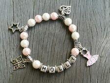 Girls Personalised Name - Ballet Tutu Butterfly Star Heart Charm Bead Bracelet