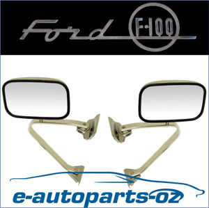 Ford F100 F150 F250 F350 Bronco Side Rear Wing Mirror Set Chrome/Stainless 81-96