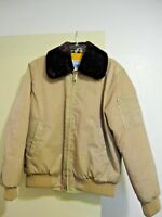 SEARS VINTAGE WORK LEISURE BOMBER FLIGHT JACKET TAN NYLON MENS M 38/40 JAPAN