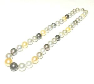 """Stunning Round 11-13.6mm 41 pcs Mixed Multi Colors South Sea Pearls 19"""" Necklace"""