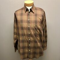 Burberry Mens Brown Black Red Cotton Check Plaid Dress Shirt Large Made in USA