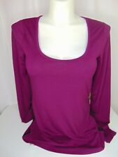GUESS Womens Long Sleeve Maroon Black Color Block Top Size: XL