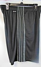 Adidas Men M Shorts Black With Grey Stripes White Logo Elastic Waist NWT