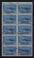 Canada Sc #262 $1 Deep Blue Destroyer Block of 10 VF Used