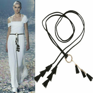 Ladies Braided Belt Self-Tie Thin Waist Rope Tassel Belt Women Fashion Belts