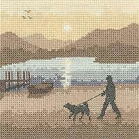 Heritage Crafts Counted Cross Stitch Kit - Silhouettes - Sunset Stroll - 14 ct A