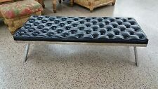 SENSUAL 70'S MOD STYLE TUFTED LONG WIDE  X STRETCHER CHROME BENCH