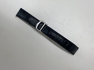 Cartier Tank Leather Strap With Deployant Buckle 16mm Stainless Steel Black