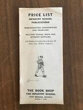 Price List Publications Books Supplies Infantry School Fort Benning Ga Wwii 1942