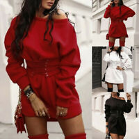 Women Long Sleeve Dress Waistband Bandag Pullover Jumper Sweater Mini Top Dress