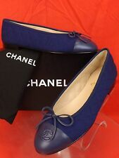 15A NIB CHANEL BLUE QUILTED TWEED LEATHER CAP TOE BOW CC LOGO FLATS 38.5 $795