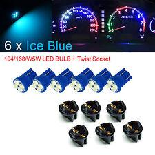 6x T10 168 194 LED Instrument Panel Dash Light Bulb Twist Lock Socket  ICE BLUE