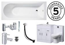 Bathroom Suite 1500mm Bath 800 Turin Vanity Unit 500x200 WC Unit BTW Pan Taps