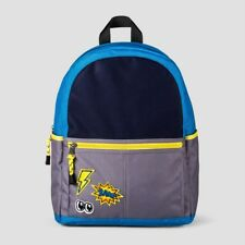 """Cat & Jack Boys' 14"""" Turquoise/Gray/Navy Blue/Yellow Colorblock Patch Backpack"""