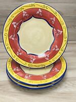 "Pier 1 Vallarta Hand Painted 11 3/8"" Dinner Plates Yellow Red Borders Set of 3"