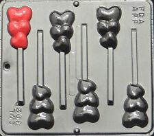 Triple Heart Lollipop Chocolate Candy Mold Valentine  3029 NEW