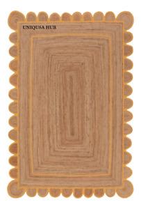 Scallop Rug 100% Natural Jute Braided Style Reversible Rug Carpet Area Rag Rug