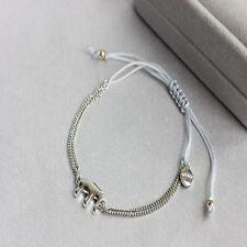 Silver Tone Elephant Wishing Grey Cord Bracelet Adjustable Sliding Knot Closure