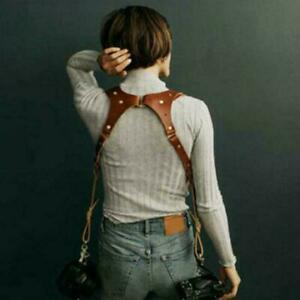 Dual Multi Camera Brown Leather Harness Shoulder Strap Universal Made