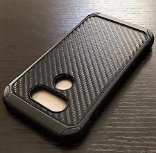 For LG G5 - Hard Rubber Hybrid Armor Impact Phone Case Cover Black Carbon Fiber