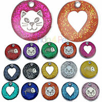 Cat Dog Tags High Quality 20mm Reflective Glitter PET ID Tag, ENGRAVING Options