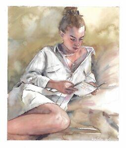 original painting 28 x 38 cm 207SE art samovar watercolor Modern woman reading