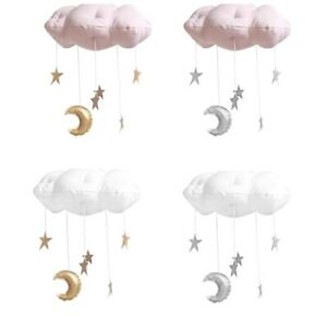 Kids Bedroom Cloud with Moon Stars Hanging Pendant Decoration Durable Cotton