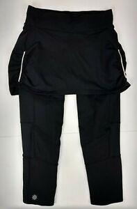Athleta Contender 2 in 1 Skort Skirt Capri Leggings Size XS Black Running Yoga