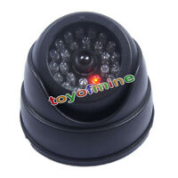 DUMMY DOME CCTV CAMERA SECURITY INDOOR OUTDOOR FAKE RED LED FLASHING LIGHT NEW