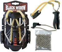 Barnett BLACK WIDOW Powerful Hunting Slingshot Catapult + 150 x 8mm BB Ammo