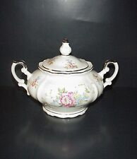 Bavaria Germany Porcelain Sugar Bowl Flowers Silver Trim