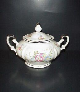 Bavaria Germany Porcelain Sugar Bowl Flowers Silver Trim