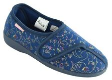 Dunlop Bluebell Womens Floral Print Touch And Close Slippers Washable