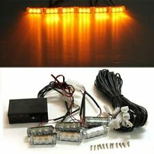 Car 6 x 3 LED Amber Flashing Grill Lights Strobe Warning Recovery Breakdown 12V